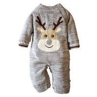 Christmas Newborn Infant Baby Very Warm Boy Girl Romper Sweater Deer Plush Hooded Outwear Long Sleeve