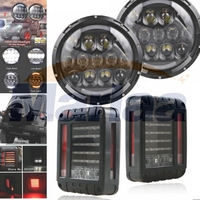 Pair 105W 7 Inch Round LED Headlight 2pcs LED Reverse Brake Tail Lights Lamp For Jeep