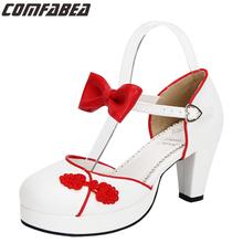 Chinese Style Spring Summer Autumn Women Sweet Punk Shoes Lolita Pumps Middle Heel Lolita Shoes Buckle Shoes Plus Size 34~44