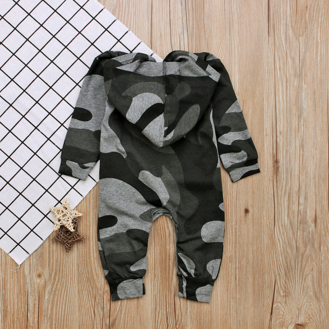 Baby Boy Camouflage Hoodie Coverall