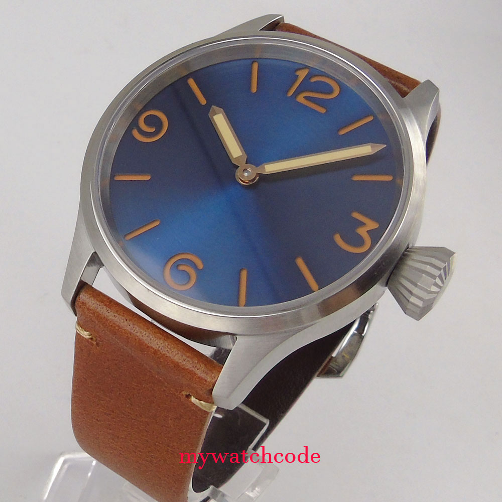 brushed parnis 43mm blue dial sapphire crystal seagull hand winding 6497 mens watch Top Brand Luxury wrist watch