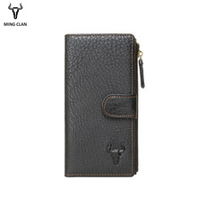 Mingclan Women's Purse Ladies Menn ekte lær lange lommebøker Money Bag Clutch Glidelås Coin Wallet ID Card Holder Female Wallet