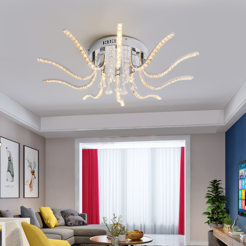New Hot Chrome Crystal Modern Led Ceiling Lights for living room bedroom Study Room lustres de