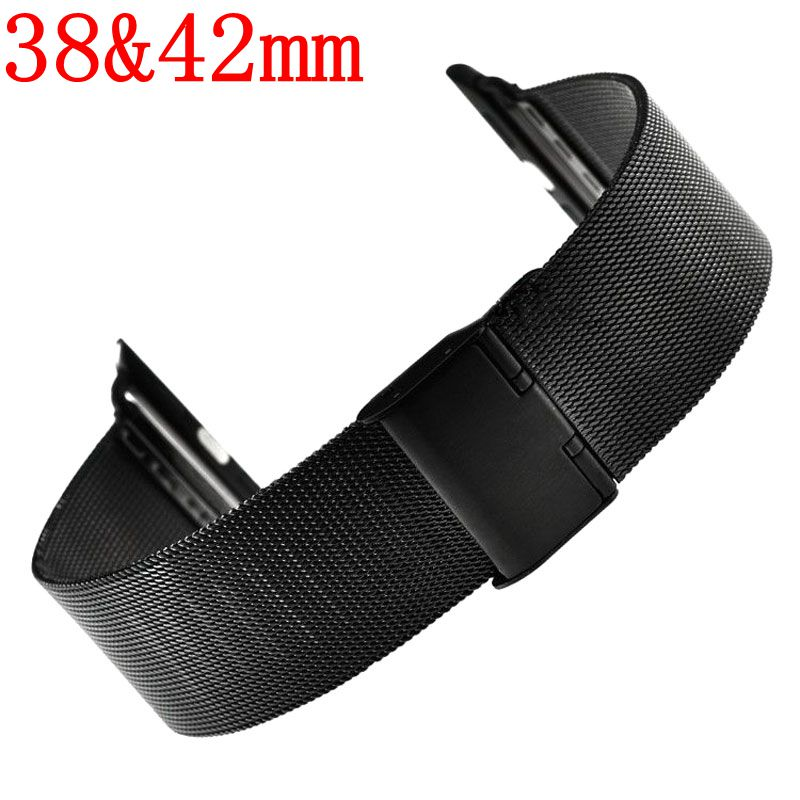Best selling Watch Strap Band for Apple Watch iWatch Metal Stainless Steel Mesh Replacement Bracelet 38mm 42mm Black Silver