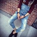 2015 Primavera Verano Moda Casual hombres Ripped Denim Agujero Pantalones Del Babero, hombre Fresco Con Estilo Jeans Monos Y Monos Hombres Mamelucos