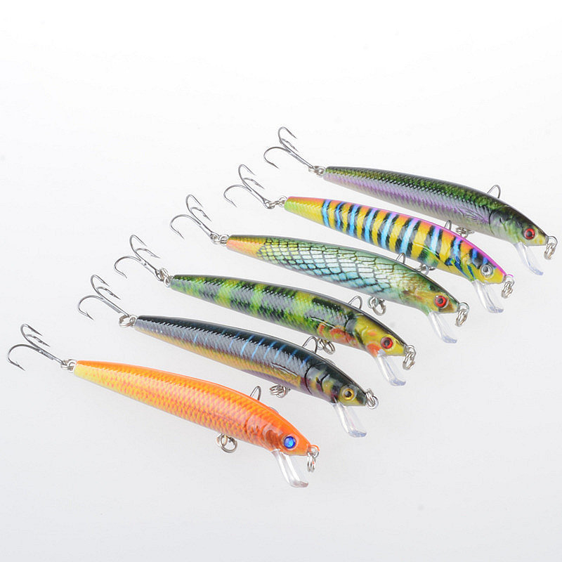 1Pcs 9 5cm 8 5g 3D Painting Minnow Sea Fishing Baits Lure Crankbait Artificial Hard Pescaria Isca With 6 Hooks For Fishing in Fishing Lures from Sports Entertainment