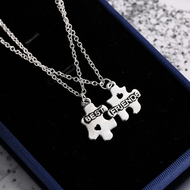 d1c7de711c78 2 piezas amistad collar geométrico rompecabezas colgante mejor amigos de  plata collares de cadena de regalo