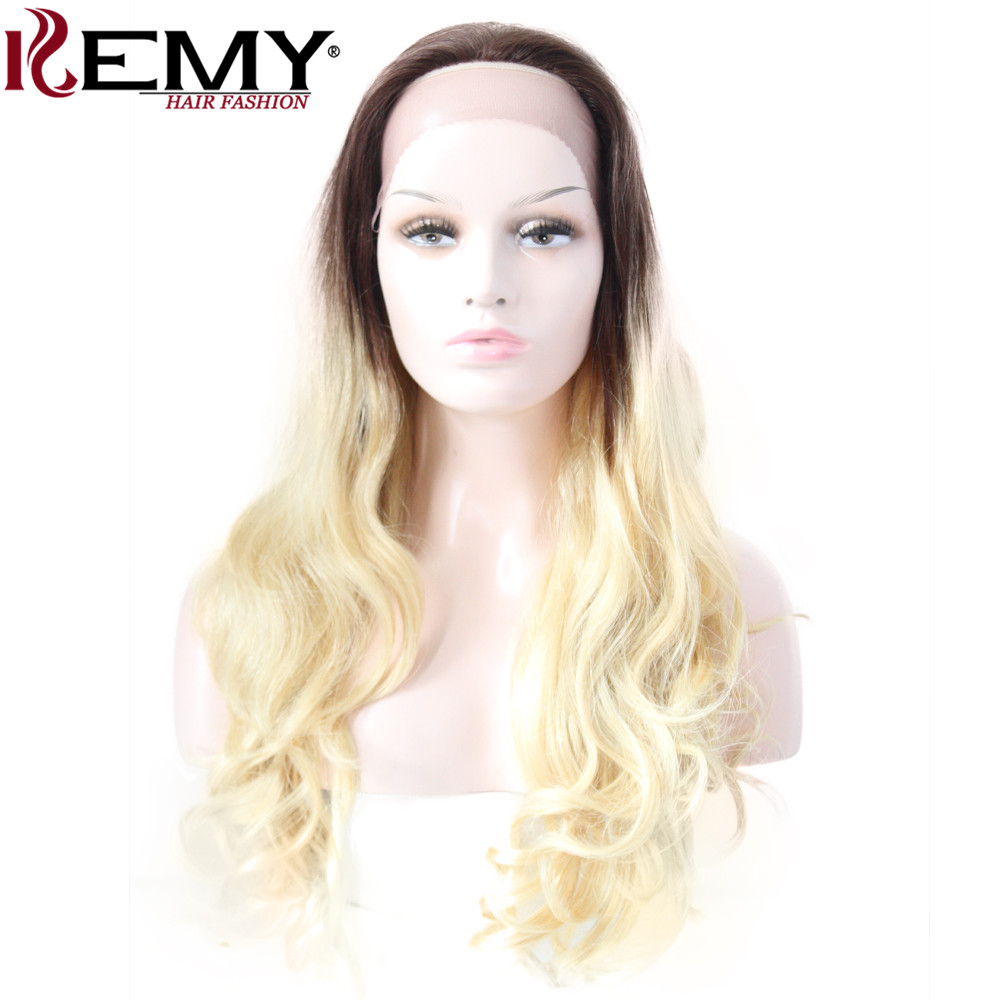 KEMY HAIR FASHION Ombre Blonde Lace Front Human Hair Wigs Loose Wave Long Brazilian Remy Human Wigs For Women Free shipping
