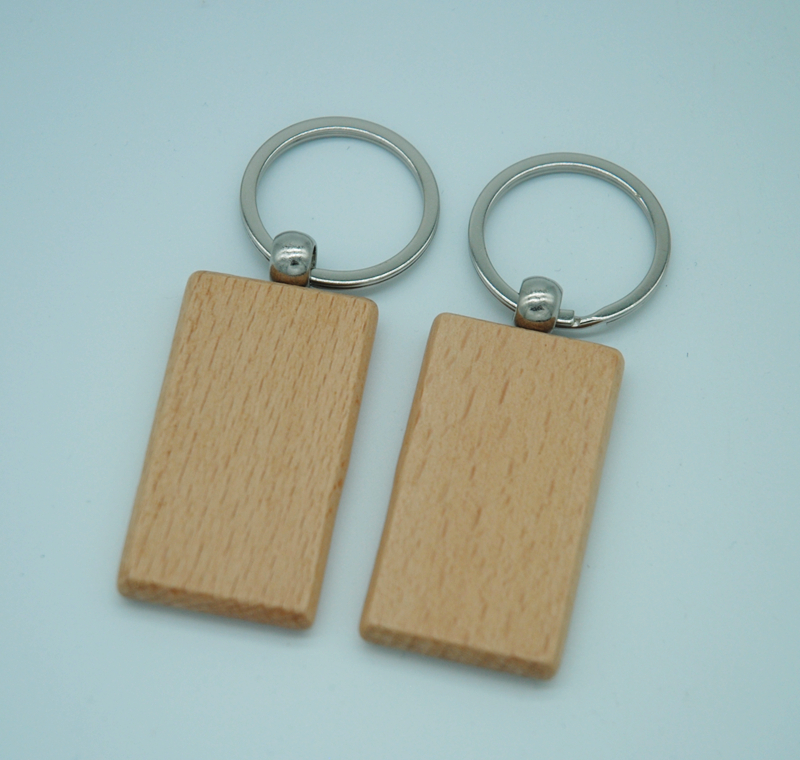 Image 4 - 50pcs Blank Wooden Key Chain Promotion Rectangle Carving Key ID can Engrave DIY 2.2*1.2Key Chains