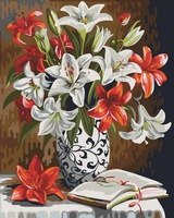 Frameless picture oil painting by numbers wall decor diy painting on canvas for home decor 4050 red and white lily