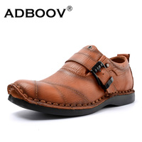 ADBOOV Cowboys Man Shoes Leather Genuine Buckle Casual Shoes 5 Cm Height Increasing Men Shoes Pure