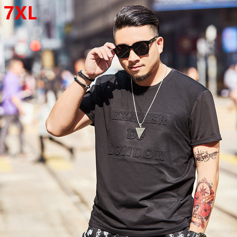 Spring summer new products plus size T-shirt short-sleeved men's letter printing round neck large size men's T-shirt 7XL 6XL 5XL