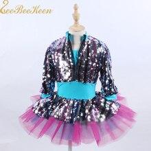 Балетное платье; вечерние платья с разноцветными блестками и длинными рукавами; сезон зима-осень; платье-пачка для выступлений на сцене; платье для балета; платье для джазовых танцев для девочек