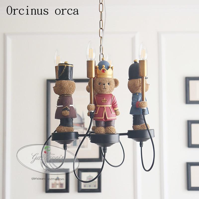 Британский плюшевый медведь люстра детская лампа для мальчиков и девочек спальня Американский креативный мультфильм кукла светодиодный Люстра из смолы