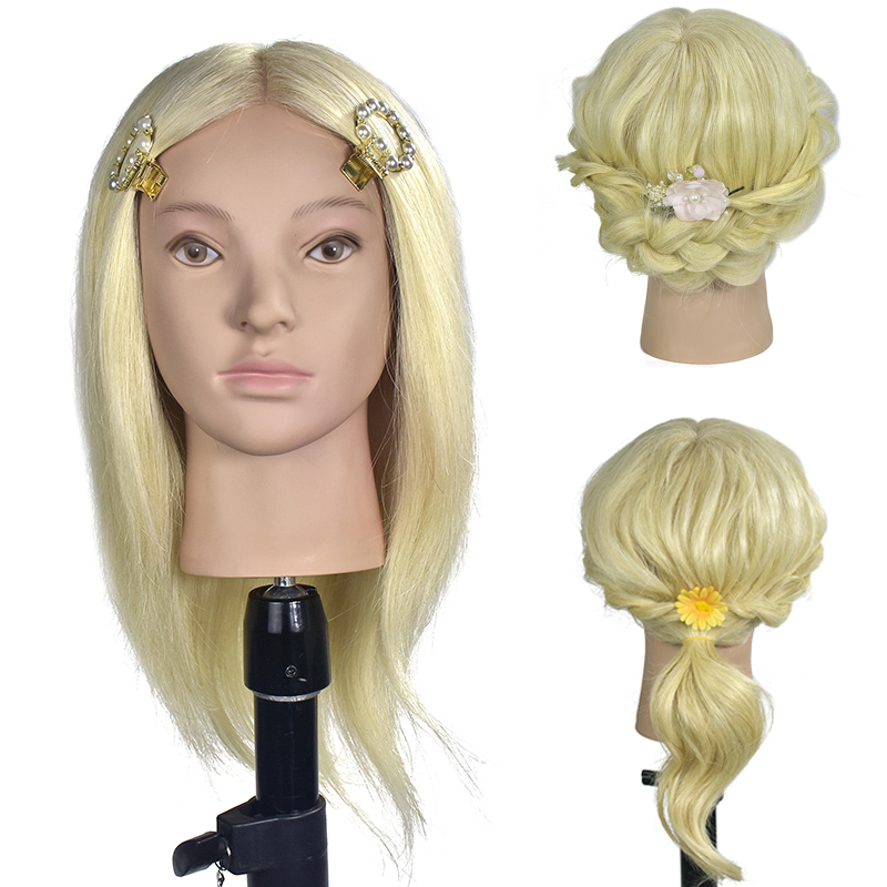 Professional Blonde Hairdressing Mannequin Head Female Mannequin Hair Styling Training Head Nice Mannequin Head Dolls
