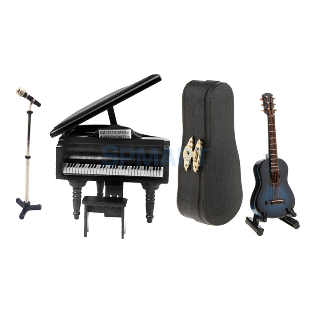 1//12scale Doll House Miniature Musical Instrument Piano Microphone W// Holder