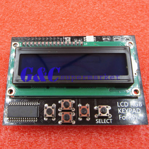 US $5 1 |I2C IIC 16x2 RGB LCD Display Shield 1602 Blue Backlight For  Raspberry Pi B+/B-in Integrated Circuits from Electronic Components &  Supplies on