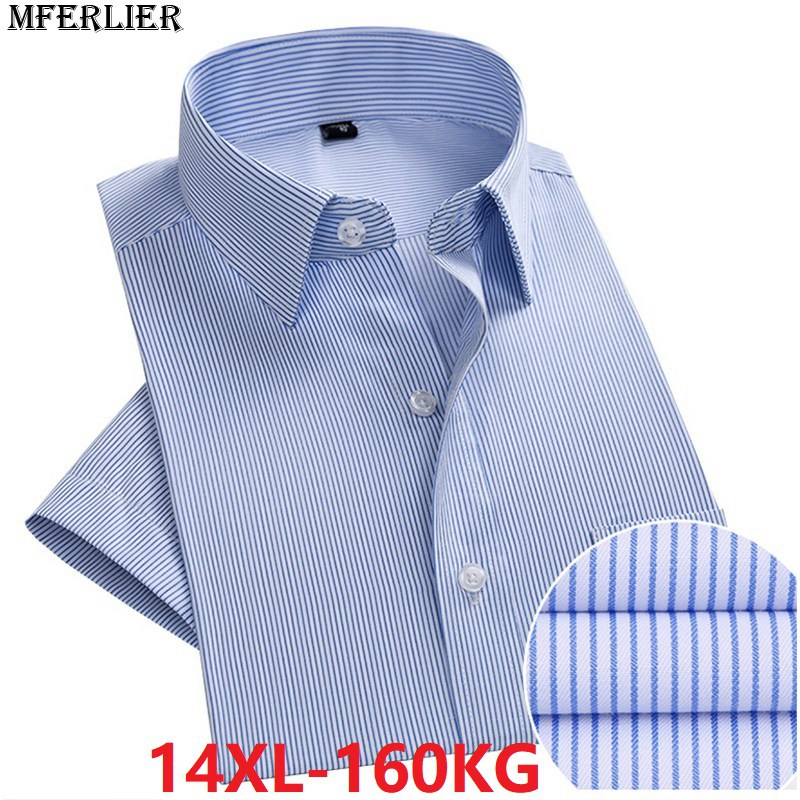 Summer men large shirt 8XL wedding short sleeve plus size big 7XL 9XL formal dress shirts 10XL 11XL 12XL 13XL 14XL blue cotton