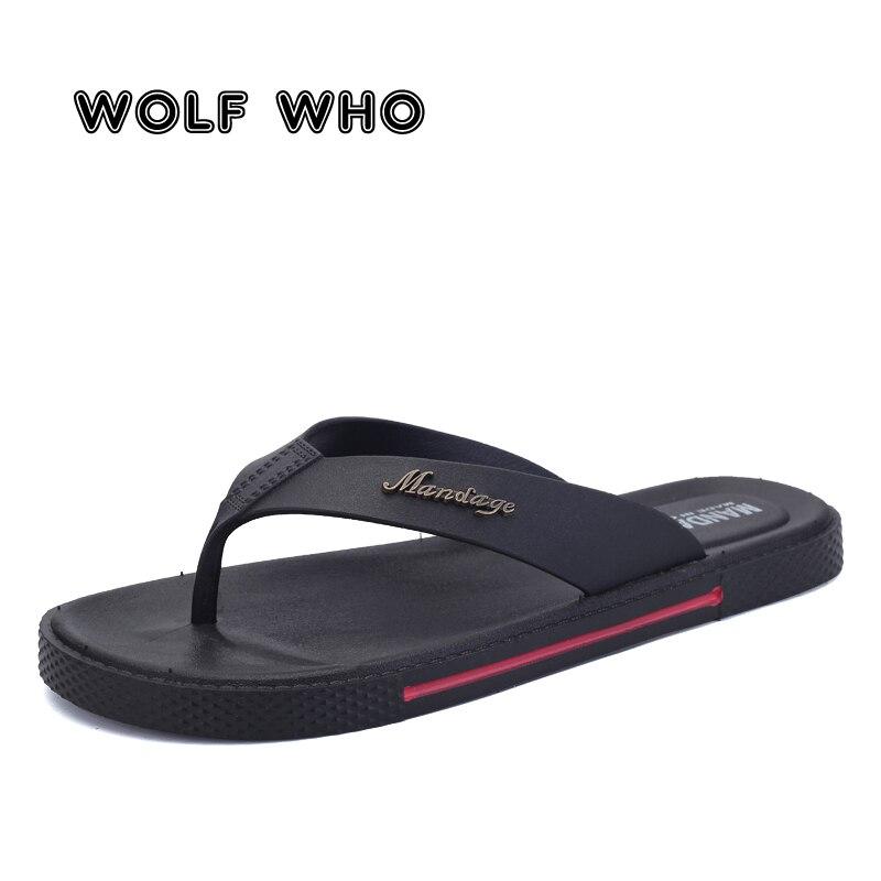 WOLF WHO 2018 Brand Summer Beach Flip Flops Men Pu Leather Slippers Male Flats Sandals outdoor Rubber Beach Shoes kapcie X-183