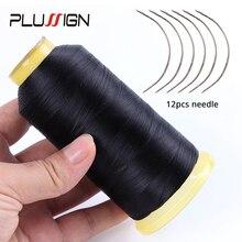 Plussign 1 шт. черная нить для плетения+ 12 шт. иглы для плетения волос, нейлоновая нить для плетения волос и C Тип изогнутые волосы швейная игла