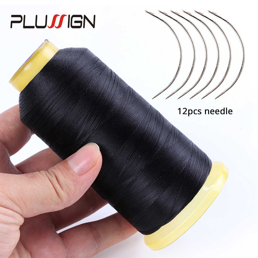 Plussign 1Pcs Black Weave Thread + 12Pcs Hair Weaving Needles, Nylon Hair Weaving Thread And C Type Curved Hair Sewing Needle