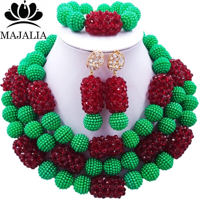 Majalia Classic Fashion Nigerian Wedding African Jewelery Set Green and Wine burgundy Crystal Necklace Bride Jewelry Sets 3SZ003 цены