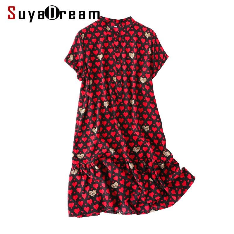 ผู้หญิง Mini 100% ผ้าไหม Crepe หัวใจสีแดงพิมพ์ชุดผู้หญิงผ้าไหมสั้น 2019 ฤดูร้อนใหม่ชุด-ใน ชุดเดรส จาก เสื้อผ้าสตรี บน   1