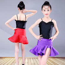 Latin Dance Dress For Girls Children Kids Black Competition Skirts Ballroom Tango Cha Spandex