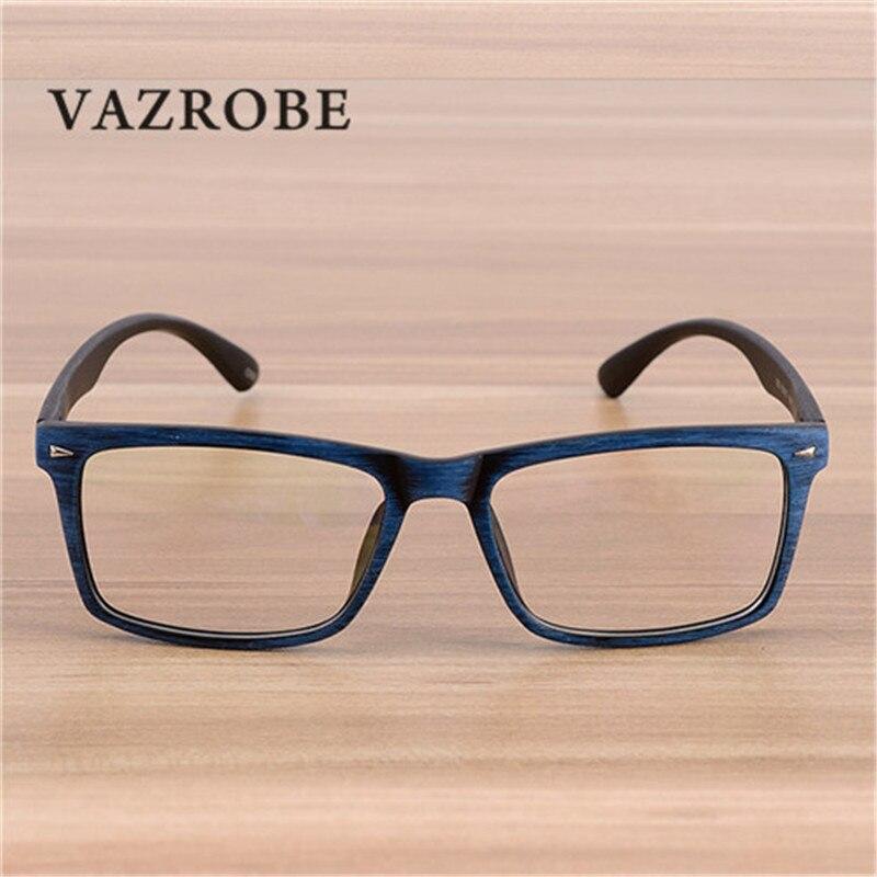 3f07fbc505f Vazrobe Vintage Wood Grain Glasses Mens Eyeglasses Frame for Man Optical  Lens Square Spectacles for Prescription Male myopia -in Eyewear Frames from  Apparel ...