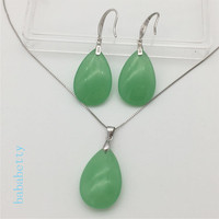 New natural Purple green jades stone earrings pendants 925 sterling silver necklace set