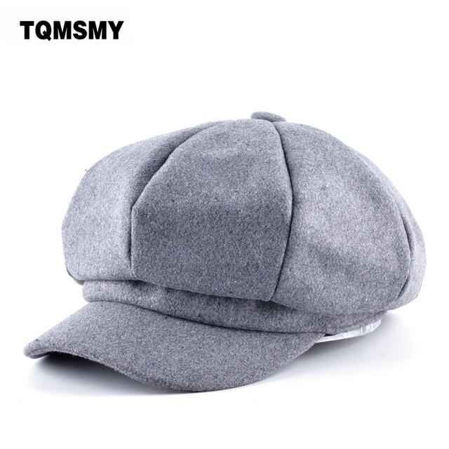 TQMSMY otoño lana de imitación tela gorras planas hombre de periódicos  color sólido boinas mujeres sombreros 70ce203d4f4