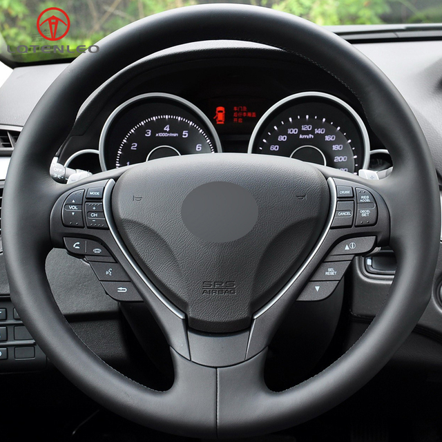 LQTENLEO Black Genuine Leather DIY Hand Stitched Car Steering Wheel - Acura steering wheel cover