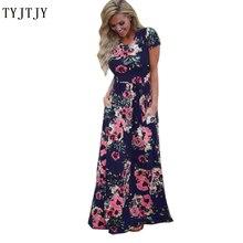 Women Floral Print Bohemia Long Dress Short Sleeve O Neck Beach Boho Loose Maxi Vestido Plus Size party dress