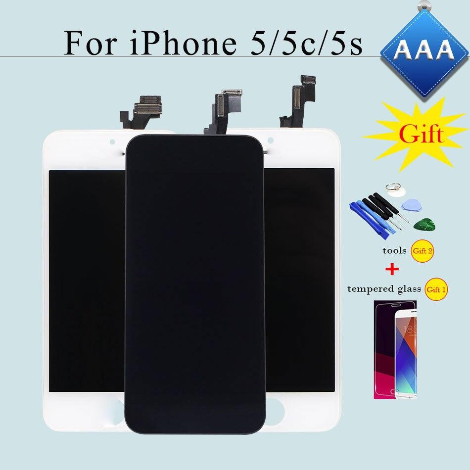 imágenes para 100% de Verificación y Prueba 5S AAA Pantalla LCD para el iphone 5 5c Pantalla Táctil Digitalizador Asamblea Completa Del Reemplazo Negro/blanco + 2 Regalos Gratis