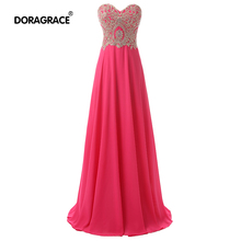 robe de soiree Romantic Sweetheart Sleeveless Lace-Up Floor-Length Chiffon Evening Dresses Long Gowns DGE004