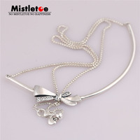 Mistletoe Authentic 925 Sterling Silver Brilliant Bow Necklace, Clear CZ Fit European Necklace Jewelry