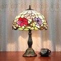 12-дюймовая настольная лампа Tiffany Flesh кантри цветы Кантри Стиль Витражная Лампа для спальни E27 110-240 В