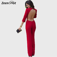 2015 Summer Rompers Women Long Jumpsuit Sexy Backless New Romper Ladies Elegant Jumpsuits Long Sleeve Casual