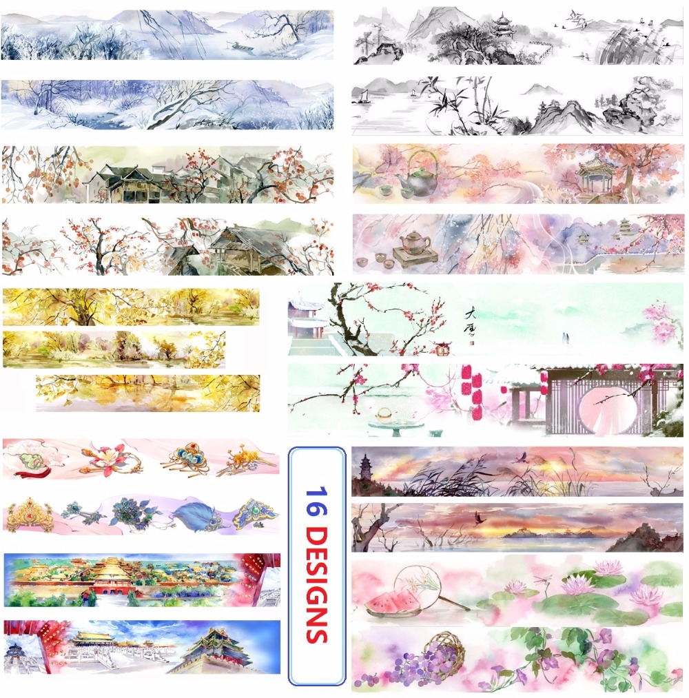 16Designs 20/30MM*10M Flowers/Imperial Palace/Chinese Ink Pai Japanese Washi Decorative Adhesive DIY Masking Paper Tape Sticker