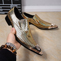 Men Dress Shoes Luxury Brand Slip On Wedding Shoes with Metal Pointed Toe Men Snake Pattern Chaussure Homme Plus Size 38-46