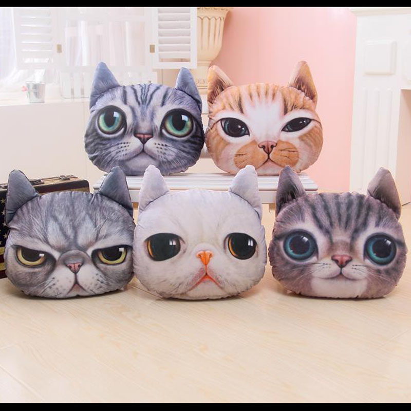 40*38cm 3D Cat Plush Pillow Creative Washable Cartoon Cat Nap Cushion Lovely Decorative Simulation Animal Throw Pillows Cat Toy lovely travel nap cartoon crown long eyelashes eyeshade sleep mask