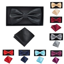 Red Bow Ties Self Tie Men's Fashion Solid Color Checked Bowtie Adjustable Hankerchief Business Wedding Papillon Men Accessories