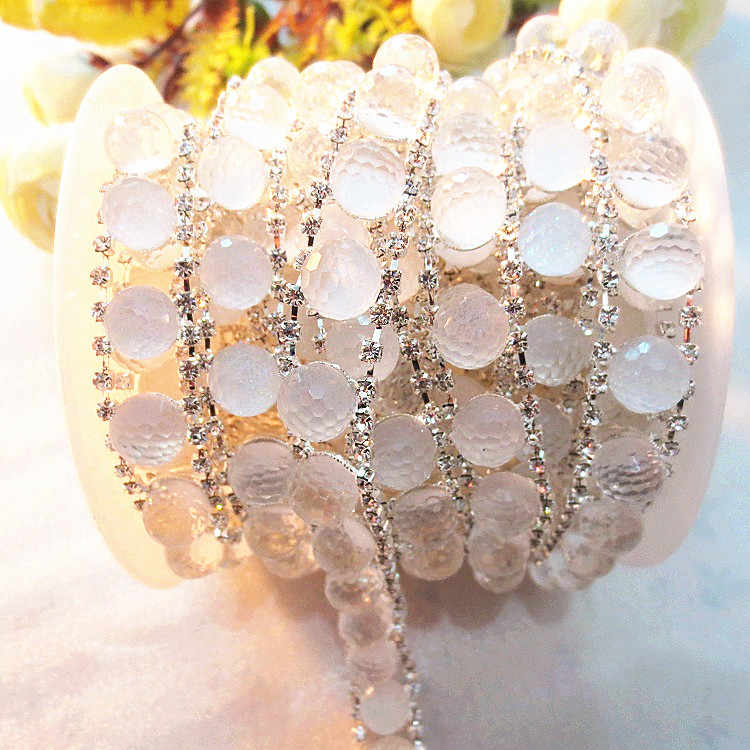 5yards lot Crystal beaded Rhinestone Cup Chain Silver Base For Wedding  Dress Decoration Rhinestone Applique dbe68188708e
