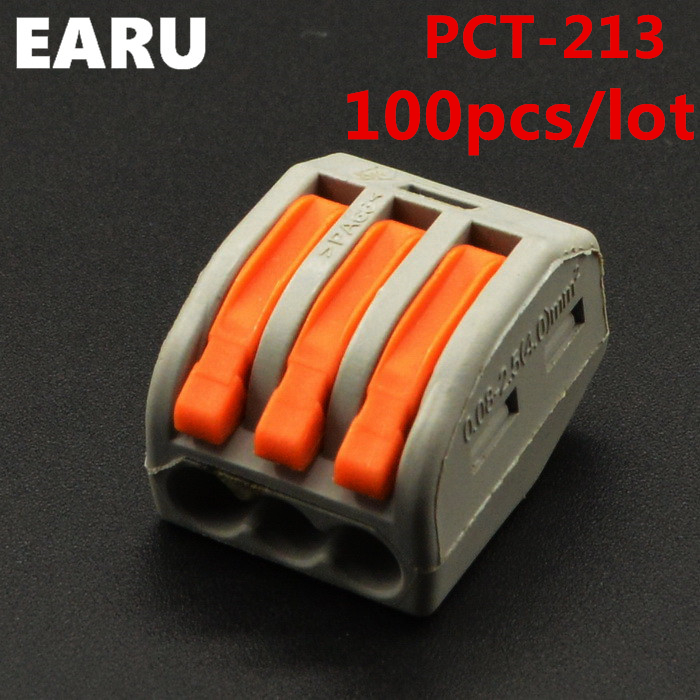 (100Pcs/lot) PCT-213 PCT213 WAGO 222-413 Universal Compact Wire Wiring Connectors 3 Pin conductor terminal block lever AWG 28-12