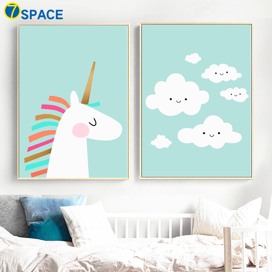 7-Space Unicorn Cloud Posters And Prints Wall Art Canvas Painting Pop Art Animal Nordic Poster Wall Pictures For Kids Room...  wall art unicorn | DIY Unicorn & Skull | EASY Pastel Goth Tumblr Wall Art | 7 Space font b Unicorn b font Cloud Posters And Prints font b Wall b font