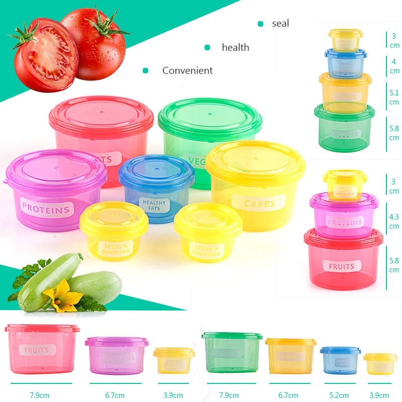 7pcs/set Plastic Diet Control Lunch Box Fruit Vegetable Food Storage Container Fitness Workout Meal Eating Plan Lunchbox image