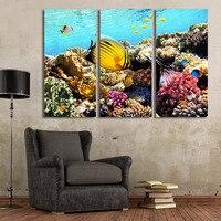 ديكور المنزل 3 لوحة جدار الفن المشارك الحديثة اللوحة وحدات الأسماك البحرية المرجانية hairtail الإطار غرفة المعيشة قماش hd الطباعة صور