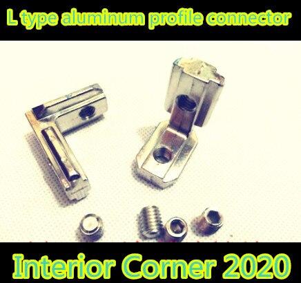 цены  10pcs 2020 T Slot L Shape Type Aluminum Profile Accessories Interior Corner Connector Joint Bracket for 20 profile(with screws)