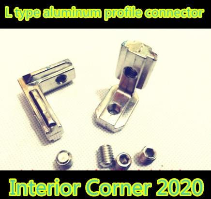 10pcs 2020 T Slot L Shape Type Aluminum Profile Accessories Interior Corner Connector Joint Bracket for 20 profile(with screws)
