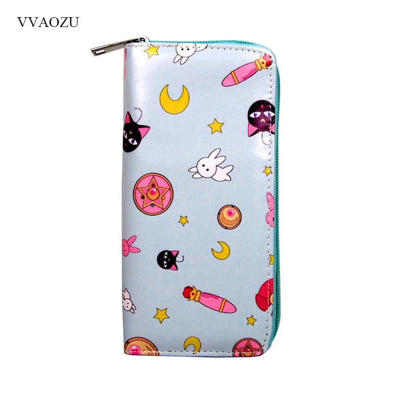 Sailor Moon Card Captor Sakura Ladies Long Zipper Female Wallet Women Kawaii Luna Cat Rabbit Star Printed Purse Card Clutch Bag